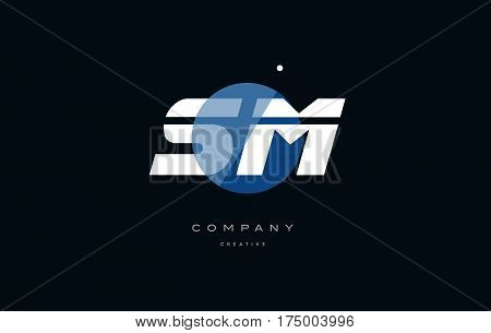 Sm S M  Blue White Circle Big Font Alphabet Company Letter Logo