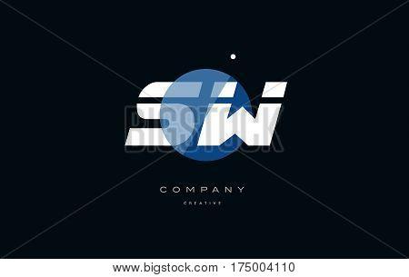 Sw S W  Blue White Circle Big Font Alphabet Company Letter Logo