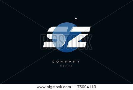 Sz S Z  Blue White Circle Big Font Alphabet Company Letter Logo