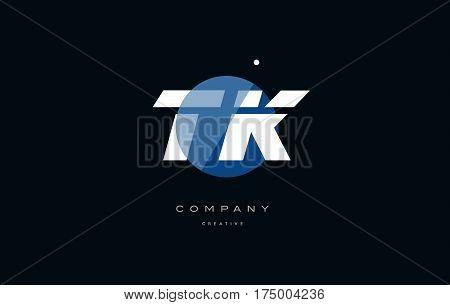Tk T K  Blue White Circle Big Font Alphabet Company Letter Logo