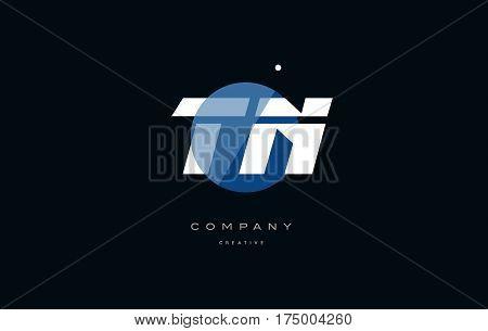 Tn T N  Blue White Circle Big Font Alphabet Company Letter Logo