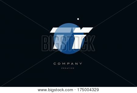 Ty T Y  Blue White Circle Big Font Alphabet Company Letter Logo