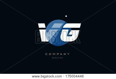 Vg V G  Blue White Circle Big Font Alphabet Company Letter Logo