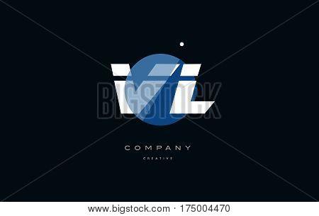 Vl V L  Blue White Circle Big Font Alphabet Company Letter Logo