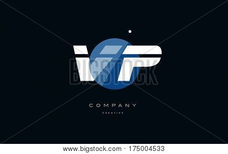 Vp V P  Blue White Circle Big Font Alphabet Company Letter Logo