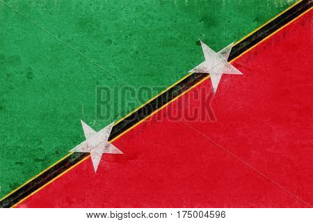 Illustration of the flag of Saint Kitts and Nevis with a grunge look.
