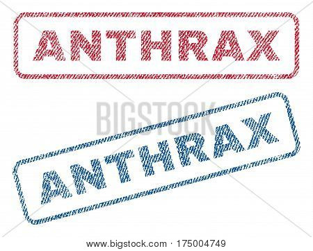 Anthrax text textile seal stamp watermarks. Blue, red fabric vectorized texture. Vector caption inside rounded rectangular shape. Rubber emblem with fiber textile structure.
