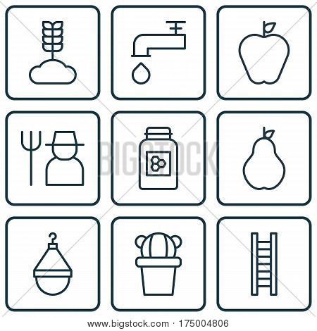 Set Of 9 Garden Icons. Includes Jar, Hanger, Cereal And Other Symbols. Beautiful Design Elements.