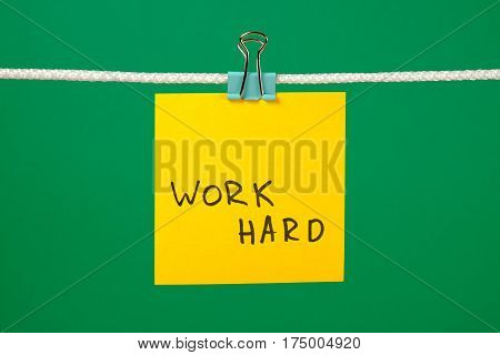 Yellow Paper Note On The String With Text Work Hard