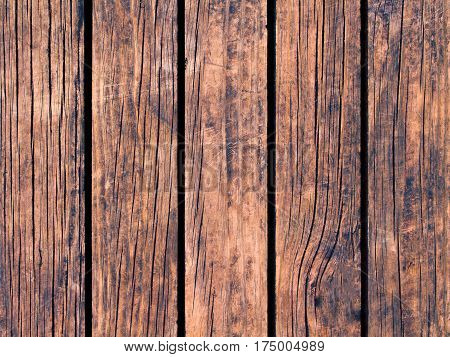 Wood texture with vertical lines. Warm brown wooden background for natural banner. Timber texture closeup. brown wood board or floor backdrop photo. Vertical plank of natural wood for banner template