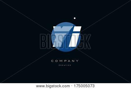 Yi Y I  Blue White Circle Big Font Alphabet Company Letter Logo