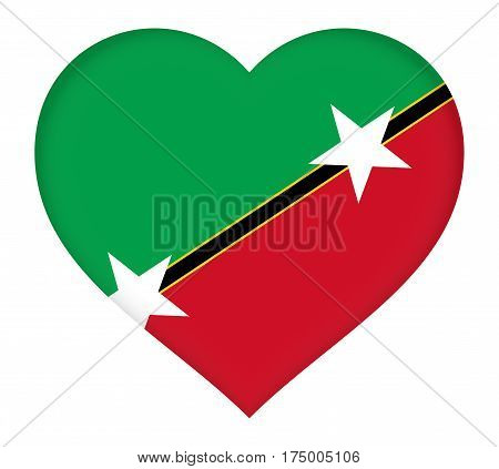 Illustration of the flag of Saint Kitts and Nevis shaped like a heart.