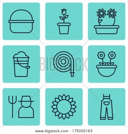 Set Of 9 Agriculture Icons. Includes Garden Clothes, Grower, Floweret And Other Symbols. Beautiful Design Elements.