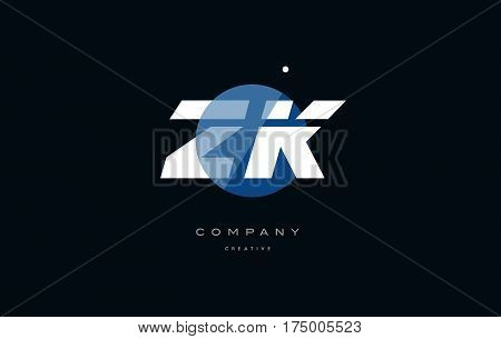 Zk Z K  Blue White Circle Big Font Alphabet Company Letter Logo