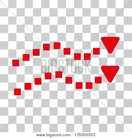 Dotted Trend Lines icon. Vector illustration style is flat iconic symbol, red color, transparent background. Designed for web and software interfaces.