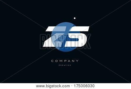 Zs Z S  Blue White Circle Big Font Alphabet Company Letter Logo