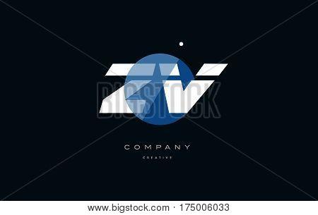 Zv Z V  Blue White Circle Big Font Alphabet Company Letter Logo