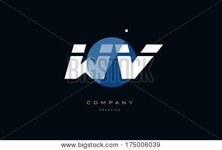 Wv W V  Blue White Circle Big Font Alphabet Company Letter Logo