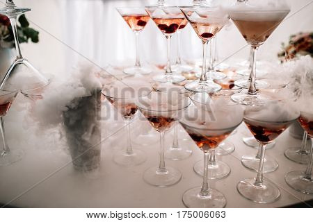 Champagne Glasses. Wedding Slide Champagne For Bride And Groom. Colorful Wedding Glasses With Champa