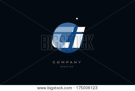 Ci C I  Blue White Circle Big Font Alphabet Company Letter Logo