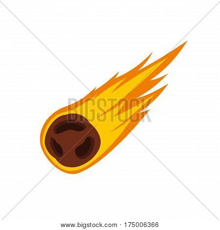 Flame meteorite icon isolated on white background vector illustration