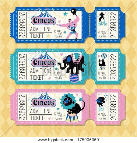 Circus traveling chapiteau retro cartoon tickets. Circus logo tent, trained wild animals performance vector illustration