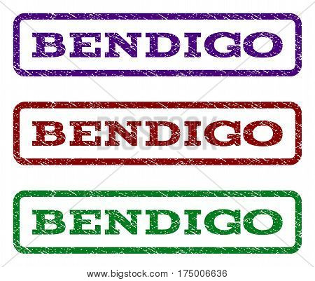 Bendigo watermark stamp. Text caption inside rounded rectangle frame with grunge design style. Vector variants are indigo blue red green ink colors. Rubber seal stamp with dirty texture.