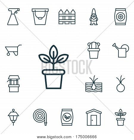 Set Of 16 Holticulture Icons. Includes Wheelbarrow, Flowerpot, Bailer And Other Symbols. Beautiful Design Elements.