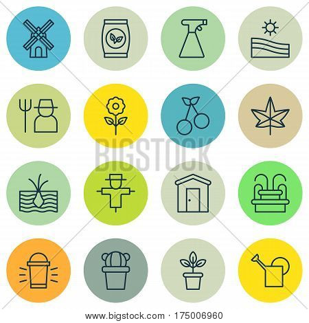 Set Of 16 Planting Icons. Includes Growing Plant, Sweet Berry, Farmhouse And Other Symbols. Beautiful Design Elements.