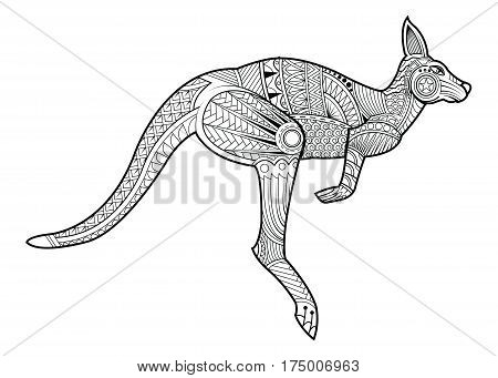 Hand drawing zentangle kangaroo for coloring page shirt design effect logo tattoo and decoration. Animal made in vector.