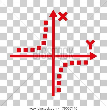 Hyperbola Plot icon. Vector illustration style is flat iconic symbol, red color, transparent background. Designed for web and software interfaces.