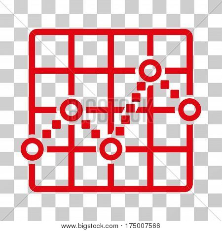 Line Plot icon. Vector illustration style is flat iconic symbol, red color, transparent background. Designed for web and software interfaces.