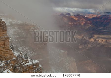the scenic landscape of the south rim grand canyon after a winter snow