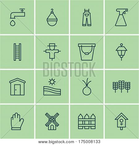 Set Of 16 Gardening Icons. Includes Meadow, Hanger, Bugbear And Other Symbols. Beautiful Design Elements.