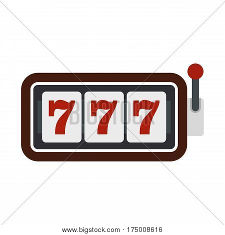 Slot machine with three sevens icon isolated on white background vector illustration