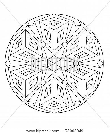 black and white kaleidoscopic abstract, coloring mandala