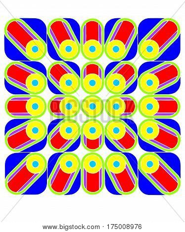 Geometric Abstract Square With Circles, Sixties op art style geometric design