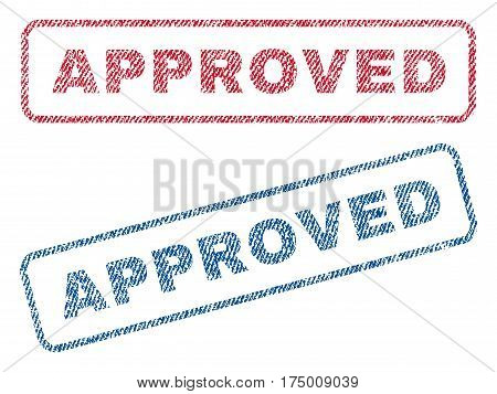 Approved text textile seal stamp watermarks. Blue, red fabric vectorized texture. Vector caption inside rounded rectangular shape. Rubber emblem with fiber textile structure.