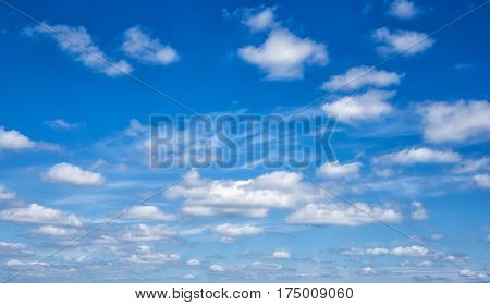 white clouds in the blue sky. Cloudy background