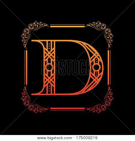 Decorative letter D with abstract frame isolated on black background