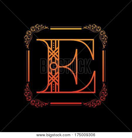 Decorative letter E with abstract frame isolated on black background