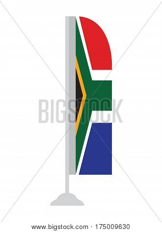 Isolated South African flag on a pole, Vector illustration