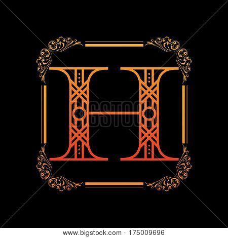 Decorative letter H with abstract frame isolated on black background
