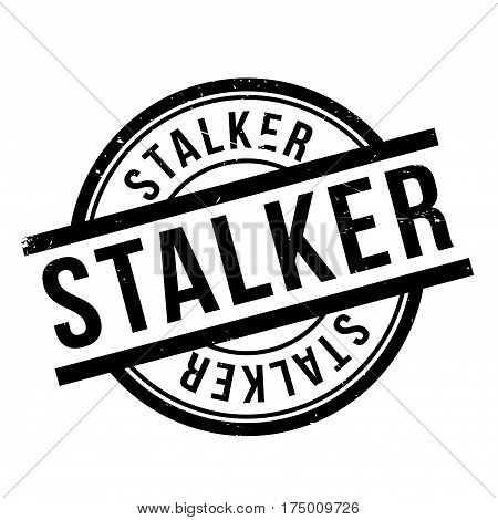 Stalker rubber stamp. Grunge design with dust scratches. Effects can be easily removed for a clean, crisp look. Color is easily changed.