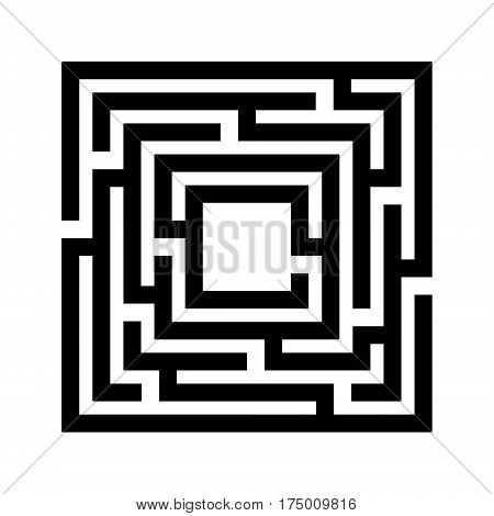 Abstract maze. Labyrinth in shapes of square. Modern design of mystery patterns for business, decoration. Vector illustration on white background
