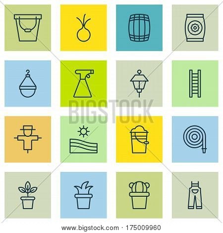 Set Of 16 Gardening Icons. Includes Meadow, Cask, Flowerpot And Other Symbols. Beautiful Design Elements.