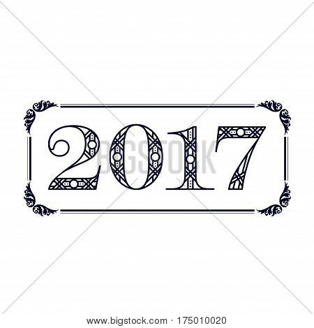 Black 2017 year numbers with decorative frame
