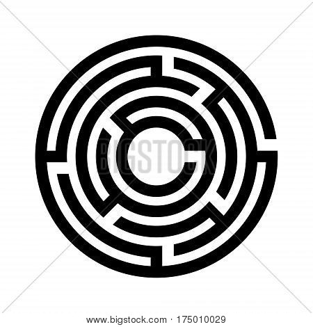 Abstract maze. Labyrinth in shapes of circle. Modern design of mystery patterns for business, decoration. Vector illustration on white background