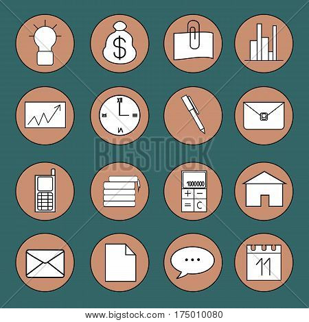 Set of icons on the theme of business and work