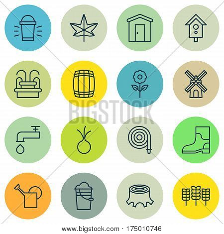 Set Of 16 Gardening Icons. Includes Fire Tube, Cask, Spigot And Other Symbols. Beautiful Design Elements.